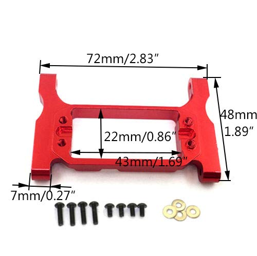 Que-T Aluminum CNC Front Steering Servo Mount Upgrade Parts for 1/10 Scale TRX-4 Crawler Car (Red)