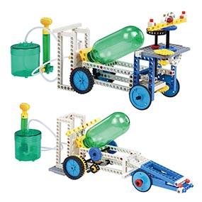 Build 15 air and water powered models including a detective car and a rocket car