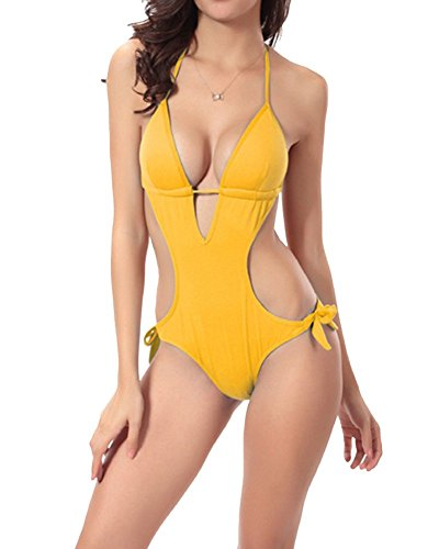 Moollyfox Pezzo Collo Donna A Bikini Intero Giallo Un Beachwear V Monokini Capestro Costumi rrTBqnAv