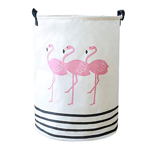 Wakerda Canvas Storage Basket - Large Storage Bin with Handles - Flamingo Pattern Storage Containers in White by Wakerda