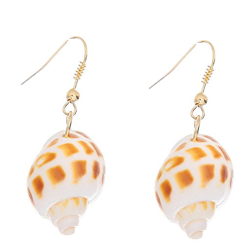 Gold Shell Earrings Conch - Natural Simple Conch Shell Earring Gold Color Ear Hook Women Pendant Dangle Earrings for Lady All-match brincos