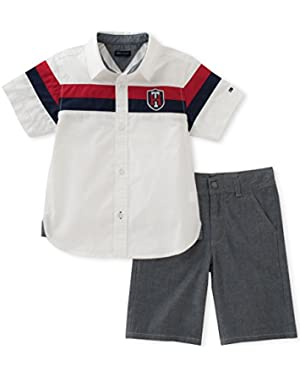Tommy Hilfiger Boys' Baby 2 Pieces Short Set-Stripes Shirt