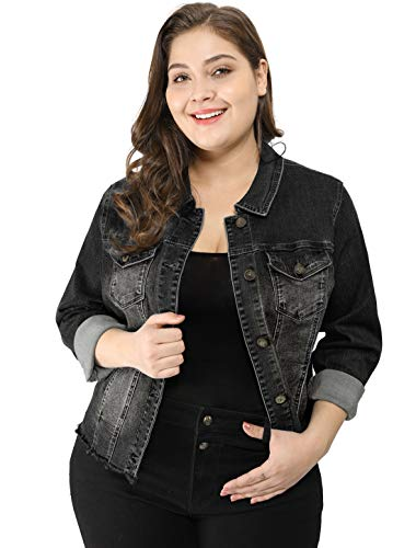 Agnes Orinda Women's Plus Size Classic Washed Front Frayed Denim Jacket Black 1X