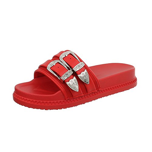 Sandales 958 Plat Design Chaussures Mules Ital Femme Rouge 1 qgPCnt6w