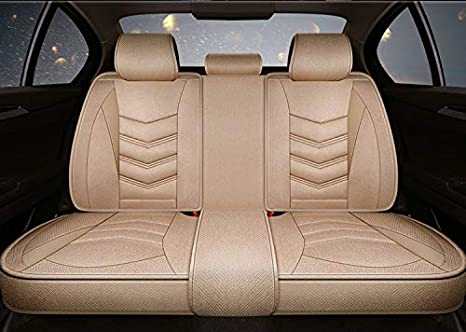 OUTOS Luxury Cotton and Linen Blended Weave Auto Car Seat Covers 5 Seats Full Set Universal Fit Black-Red