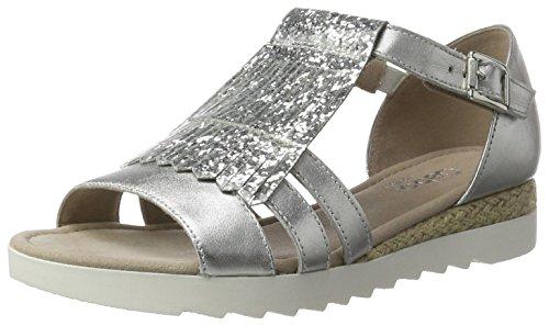 Gabor Shoes Comfort, Sandalias con Cuña para Mujer Plateado (silber Jute)