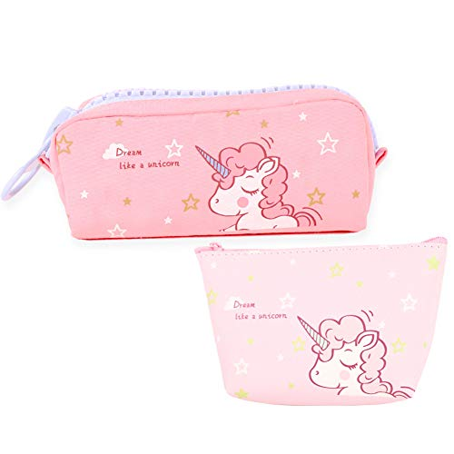 Cute Unicorn Time Pencil Case and Coin Purse, Rainbow Unicorn Pen Bag Stationary Pouch, Super Funny 3D Printing Cosmetic Make Up Bags for Girls and Women