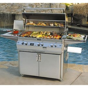 (Fire Magic Echelon Diamond E790s Propane Gas Bbq Grill With Single Side Burner And One Infrared Burner On Cart)