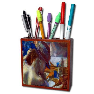 Before The Mirror By Edgar Degas Pencil Holder by MyHeritageWear.com