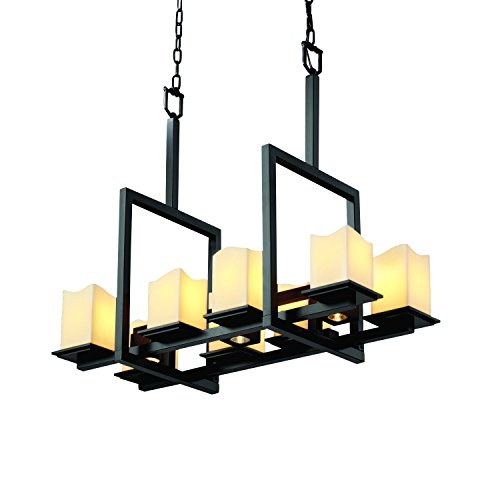 Justice Design Group CandleAria 11-Light Chandelier - Matte Black Finish with Cream Faux Candle Resin Shade Matte Black Candlearia Chandelier