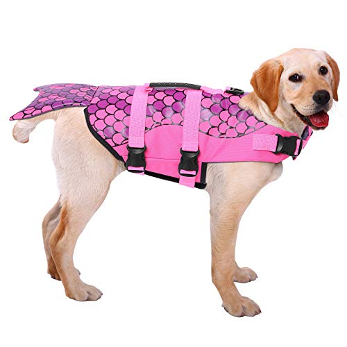 ASENKU Dog Life Jacket Ripstop Pet Floatation Vest Saver Swimsuit Preserver for Water Safety at The Pool, Beach, Boating ()