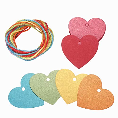 150ct Heart Shape Paper Gift Present Tags with Twine Glitter Multicolor for Valentines Day Wedding Favors All Occasion (Heart)
