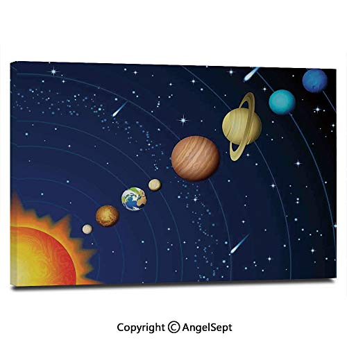 Modern Gallery Wrapped Solar System with Sun Uranus Venus Jupiter Mars Pluto Saturn Neptune Image Pictures on Canvas Wall Art Ready to Hang for Living Room Kitchen Home Decor,12
