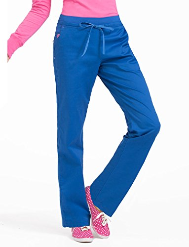 Med Couture Signature Yoga Drawstring Scrub Pant for Women, Royal with Passion Pink, Small