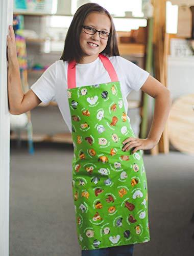 Handmade Tween Girl Green Dogs Kitchen Art Craft Gift Apron from Sara Sews