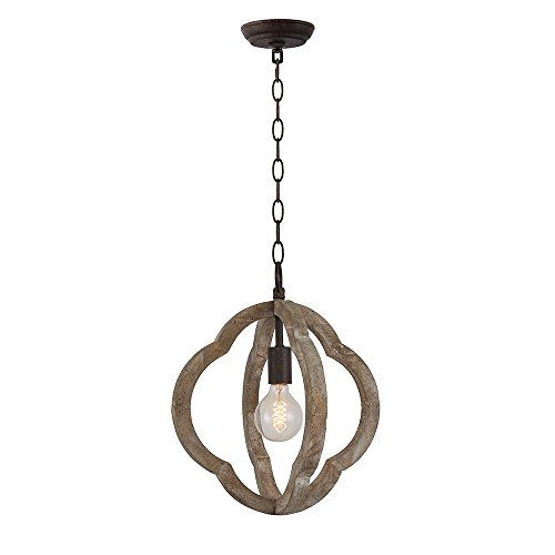 Wood and Metal Orb Frame Chandelier 1Lamp E26 Holder American Vintage Retro Indoor Wooden Pendant Lights 14-inch Antique Ceiling Lights Fixture for Home Decoration 5 Years Warranty by PHILOMENA