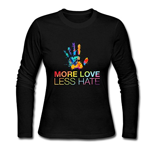 Women's More Love Less Hate, Gay Pride Cotton Athletic Long-Sleeve T-Shirt Crew (Long Sleeve Womens Pride)