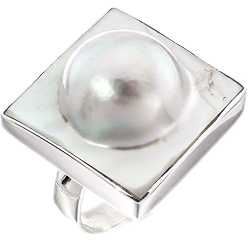- Square White Oyster Blister MABE Pearl in Shell 925 Sterling Silver US 7 Ring YE-1990