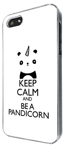 002784 - Keep Calm And Be A Pandicorn Design iphone 4 4S Hülle Fashion Trend Case Back Cover Metall und Kunststoff -Clear