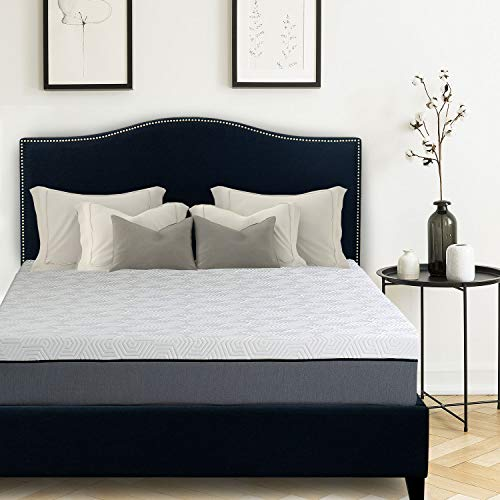 Avery Upholstered Platform Bed, 50 Tall Headboard, Nickle Finish Nail-Heads, Strong Wood Slats, Wood Feet, Designed to Work with Adjustable Beds, Solid Rails, Midnight Blue Denim Color Fabric King