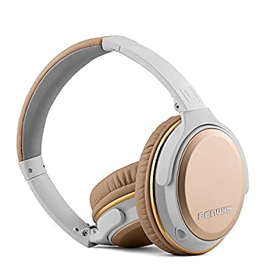 BENWIS H600 Wired Computer Mobilephone Stereo Headphone with Microphone Foldable Stretched On-ear Headset (Golden)