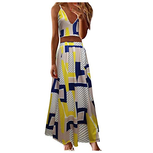 Women's Summer Dresses, Women's Summer Light Sexy Fashion Casual Vest Solid Color Two-Piece Jacket + Skirt Sets(Yellow,40_S