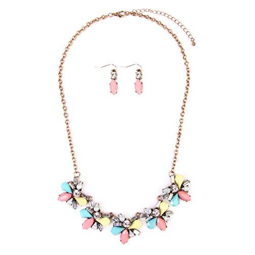 Necklace Earrings Floral Crystal (MYS Collection RIAH Fashion Floral Fashion Statement Necklace - Crystal Daisy Bold Acrylic Jewel Collar Bib & Drop Earrings Set (Multi-Color))