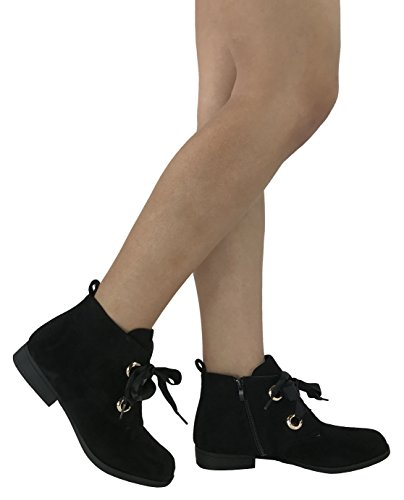 Steven Ella Women's Fashion Ankle Bootie Lace Up Ribbons Faux Suede Flat Heel - stylishcombatboots.com