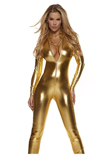 Forplay Women's Metallic Zip Front Mock Neck Catsuit, Gold, Small/Medium