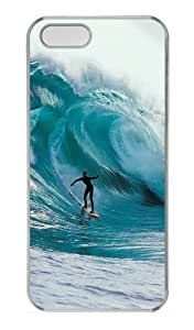 Customizable iPhone 5/5S Cases & Covers Big Wave Surfing TPU Rubber Silicone Case Compatible with iPhone 5s and iPhone 5 - Transparent