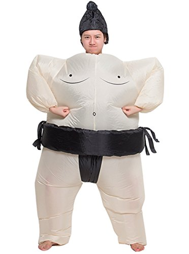 ZYZB Inflatable Adult Sumo Wrestler Wrestling Suits Halloween Costume (Mens Inflatable Sumo Costume)