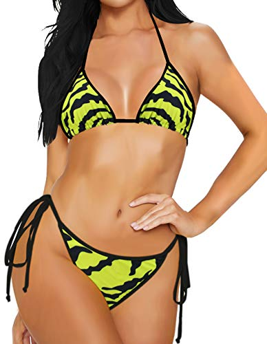 Milankerr 2Pcs Bikini Set Swimsuits for Women Straps Bathing Suits Halter Top Scrunch Butt Bottom (Tiger Stripe, X_Large)