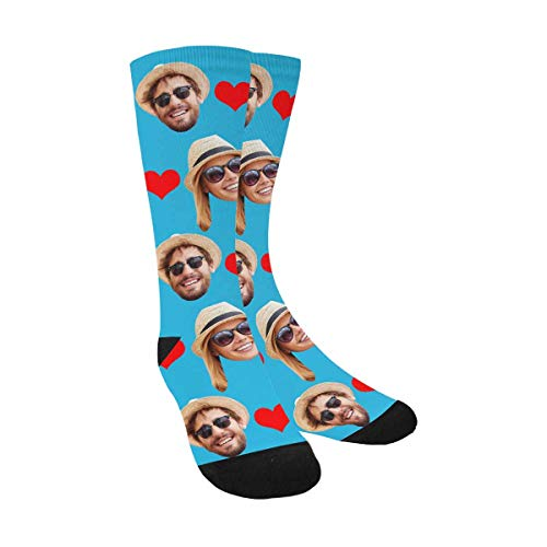 Custom Print Your Photo Pet Face Socks, Personalized Romantic Love Heart Blue Crew Socks with 2 Faces for Men Women Father's -