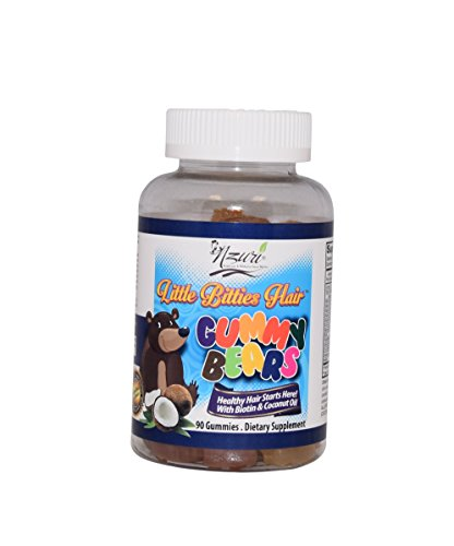 Nzuri Little Bitties Children Hair Vitamin Gummy Bears, 90 Count