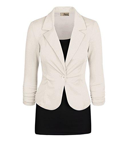 Women's Casual Work Office Blazer Jacket JK1131 Ivory XLarge