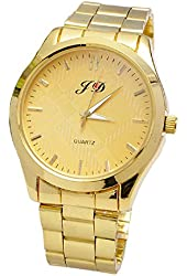 Bestpriceam New Luxury Men Gold Classic Analog Quartz Stainless Steel Wrist Watch (Gold)
