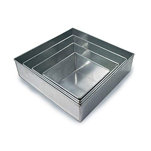 Set of 4 Tier Square Multilayer Birthday Wedding Anniversary Cake Tins/Pans/Mold (Mould) by Hufsy by Protins (Image #4)