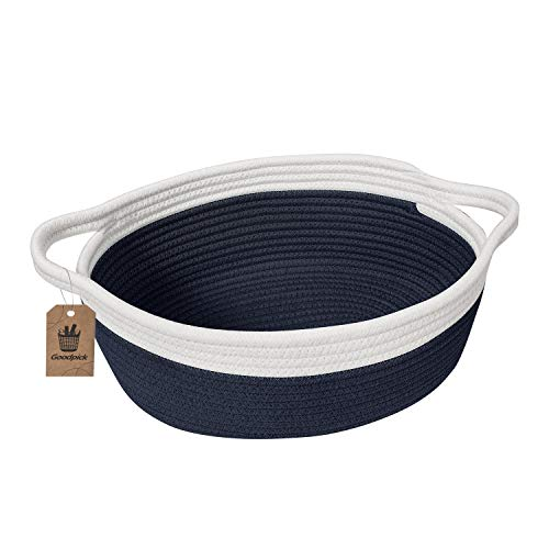 Navy Blue Baskets (Goodpick Small Woven Basket | Cute Navy Blue Rope Basket | Baby Cotton Basket | Nursery Room Storage Basket | Toy Chest Box with Handles Basket 12