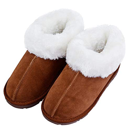 Women's Plush Terry Lining Fuzzy Fur Anti-Skid Sole Outdoor Indoor Slippers US 9 Brown