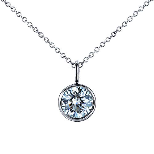 Near-Colorless (F-G) Moissanite Bezel Pendant and Detachable Cha1 CTW 14K White Gold (16