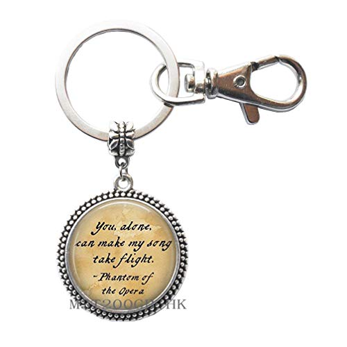 You Alone can Make My Song Keychain,Opera Keychain,Gift for Women,Wedding Jewelry Glass jewelry-MT060 (W3) ()