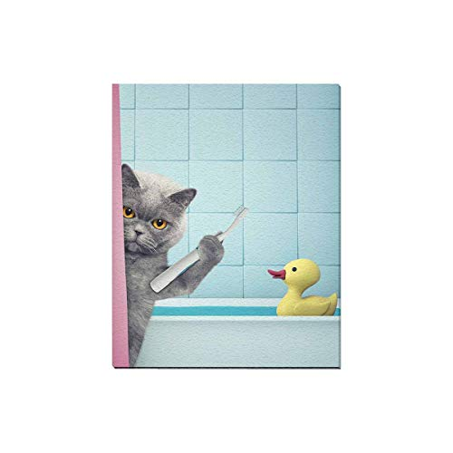 at in Bath Clean The Teeth with Yellow Rubber Duck Modern Canvas Prints Painting Wood Framed Wall Art Pictures for Home Decoration Wall Decor, 16 x 20 Inches ()