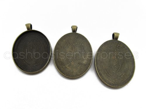 10 CleverDelights Oval Pendant Trays - Antique Bronze Color - 30 x 40 mm - Pendant Blanks Cameo Bezel Cabochon Settings - 30x40mm