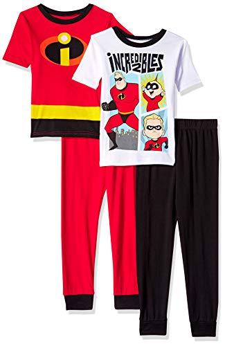 Pixar Boys' Little Incredibles 4-Piece Cotton Pajama Set, Too Incredible,  -
