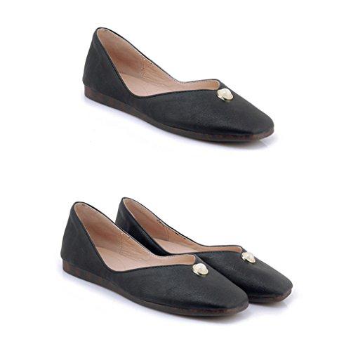 Apricot Trabajo 34 Verano mujer Color Tamaño Plano para Zapatos Color Zapatos Estudiante Chica Fondo HWF Ms de Individuales Zapatos Informal Mujer Suave Negro 7U541