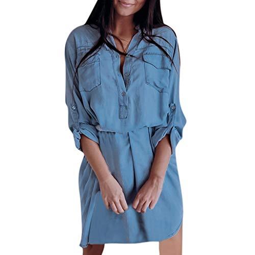 NANTE Top Casual Loose Dress Long Sleeve Pockets Longline Denim Shirt Dresses Women's Sundress Beachwear Botton Jean Skirt (Blue, XL) ()