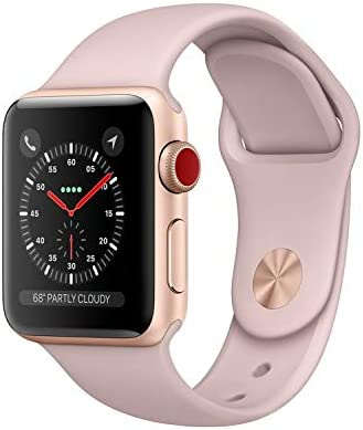 Apple Watch Series 3 38mm Smartwatch (GPS + Cellular Gold w/ Pink Sand Sport Band) (Renewed)