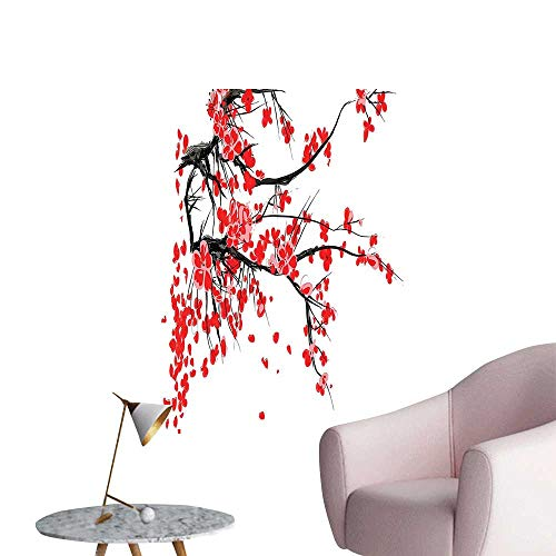 Wall Stickers for Living Room Cherry Blossom Sakura Blooms Branch Spring Inspirations Print Red Seal Brown White Vinyl Wall Stickers Print,24