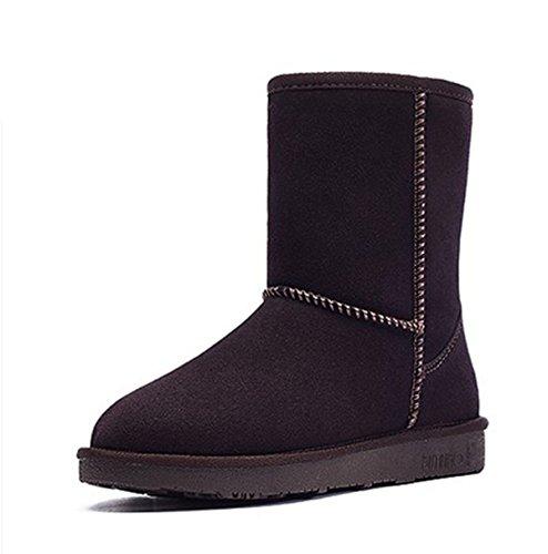 Botas De Nieve Mujeres Nuevas De Cuero Calientes Zapatos De Nieve En El Tubo Plano Botas De Mujer Chocolate