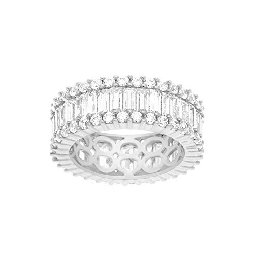 Set Cross Baguette - 18K White Gold Over Sterling Silver Cubic Zirconia Circle Pave Border with Baguette Center Row Eternity Band Ring (Size 7)